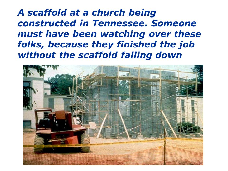 A scaffold at a church being constructed in Tennessee