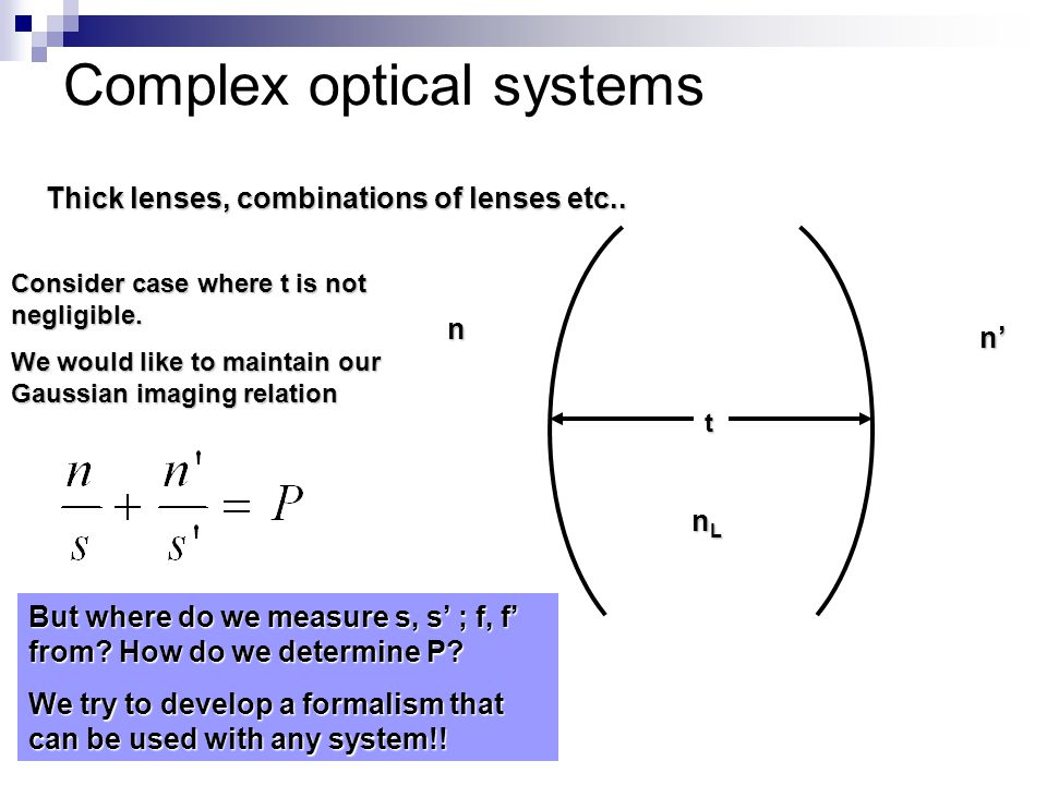 Complex optical systems