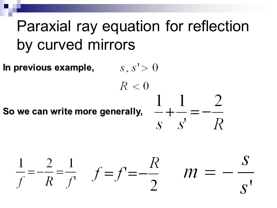 Paraxial ray equation for reflection by curved mirrors