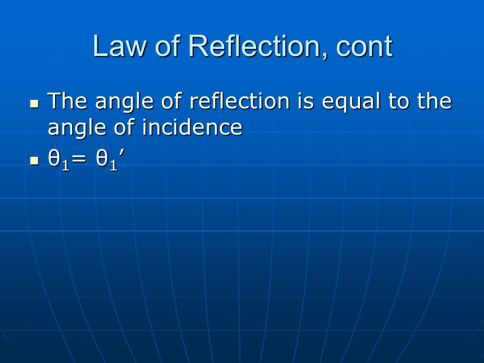 Law of Reflection, cont The angle of reflection is equal to the angle of incidence θ1= θ1'