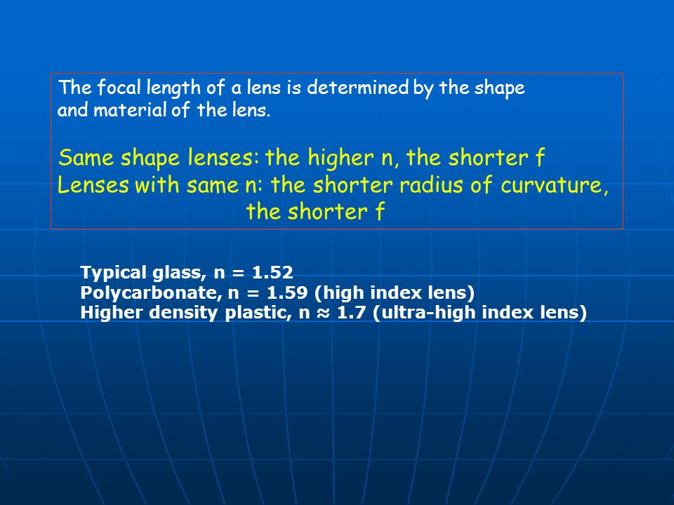 Same shape lenses: the higher n, the shorter f
