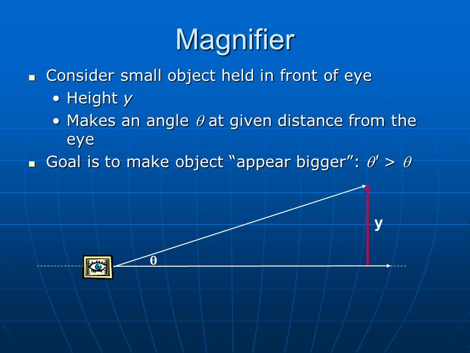 Magnifier Consider small object held in front of eye Height y