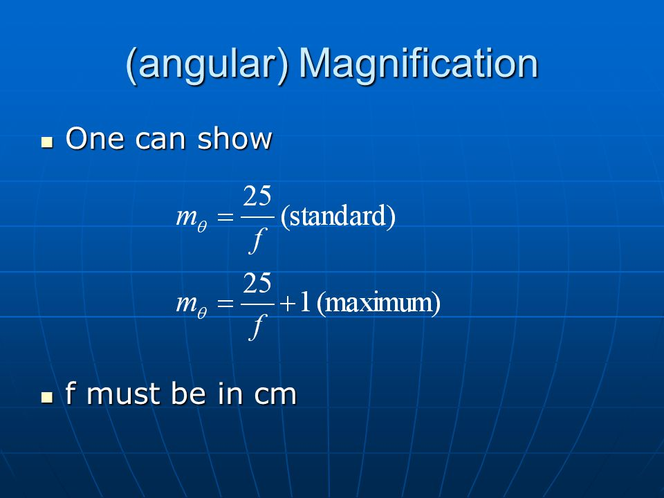 (angular) Magnification