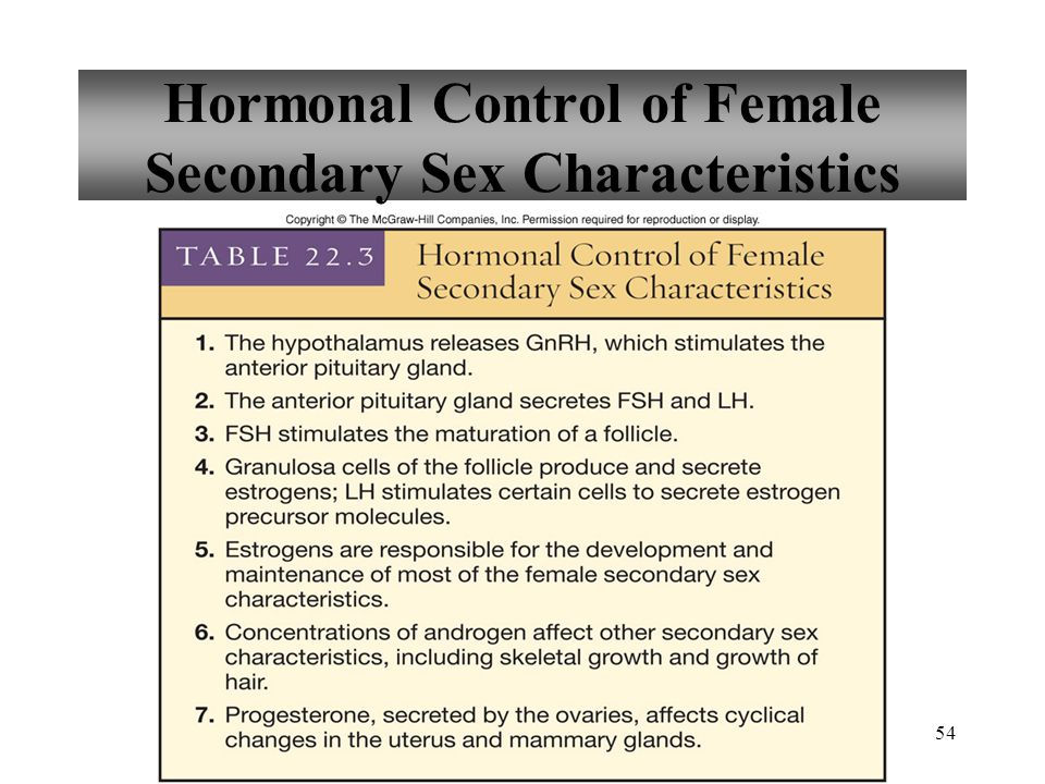 Hormonal Control of Female Secondary Sex Characteristics