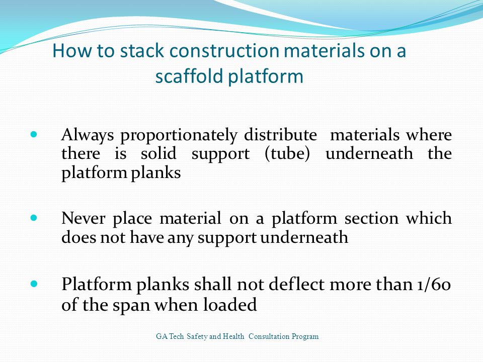 How to stack construction materials on a scaffold platform