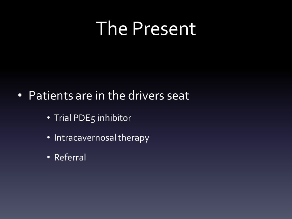 The Present Patients are in the drivers seat Trial PDE5 inhibitor