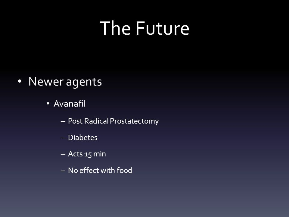 The Future Newer agents Avanafil Post Radical Prostatectomy Diabetes