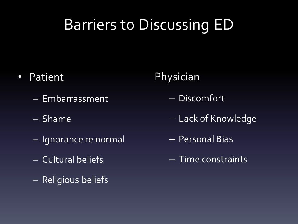 Barriers to Discussing ED