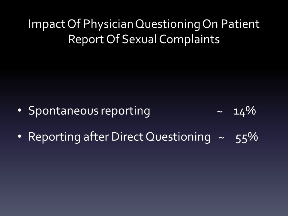 Impact Of Physician Questioning On Patient Report Of Sexual Complaints