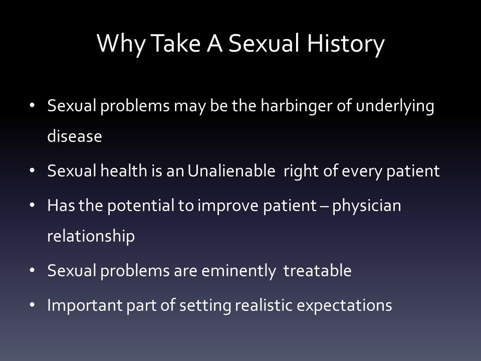Why Take A Sexual History