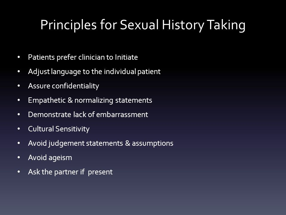 Principles for Sexual History Taking
