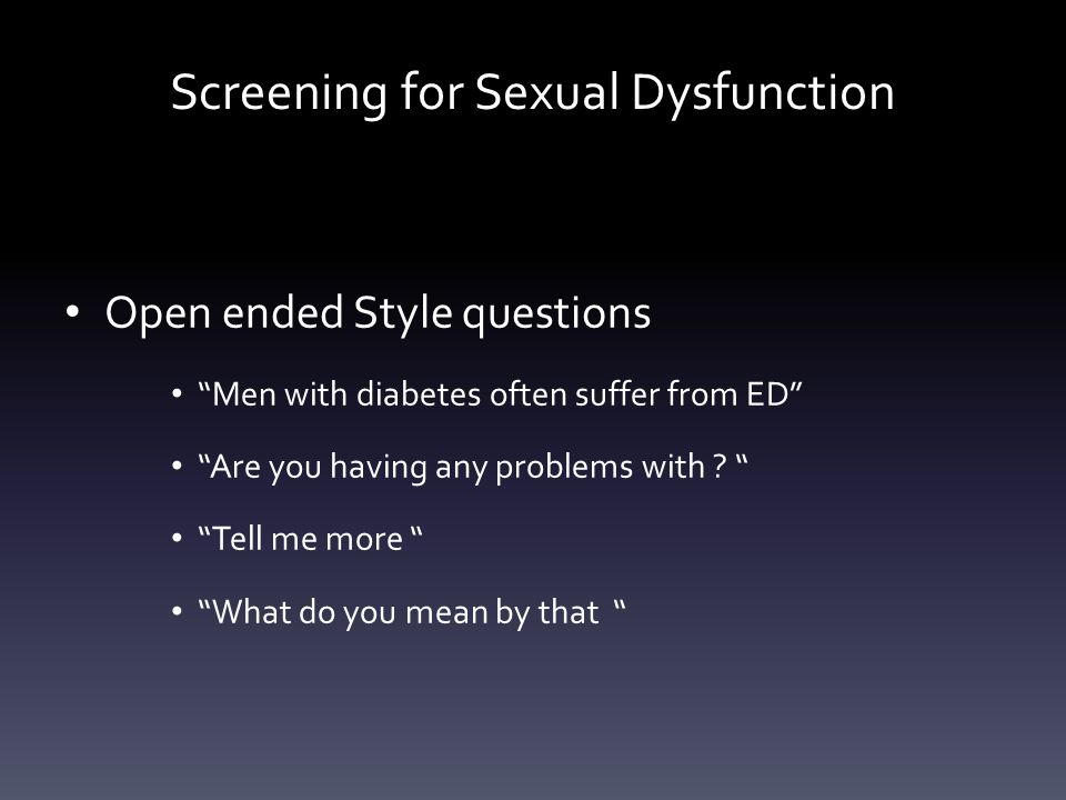 Screening for Sexual Dysfunction