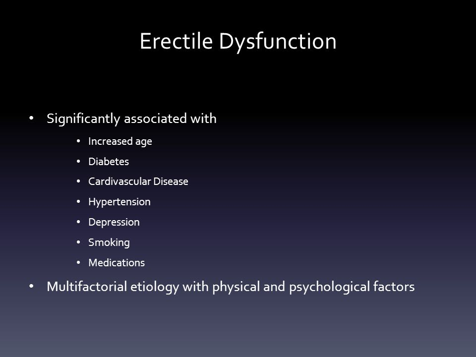 Erectile Dysfunction Significantly associated with