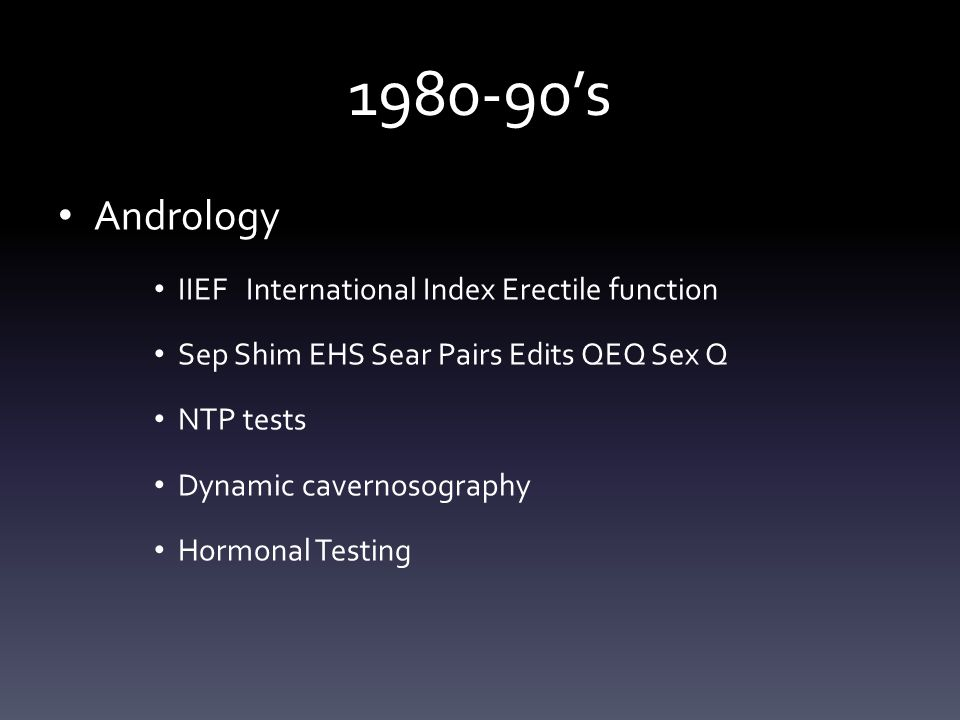 1980-90's Andrology IIEF International Index Erectile function