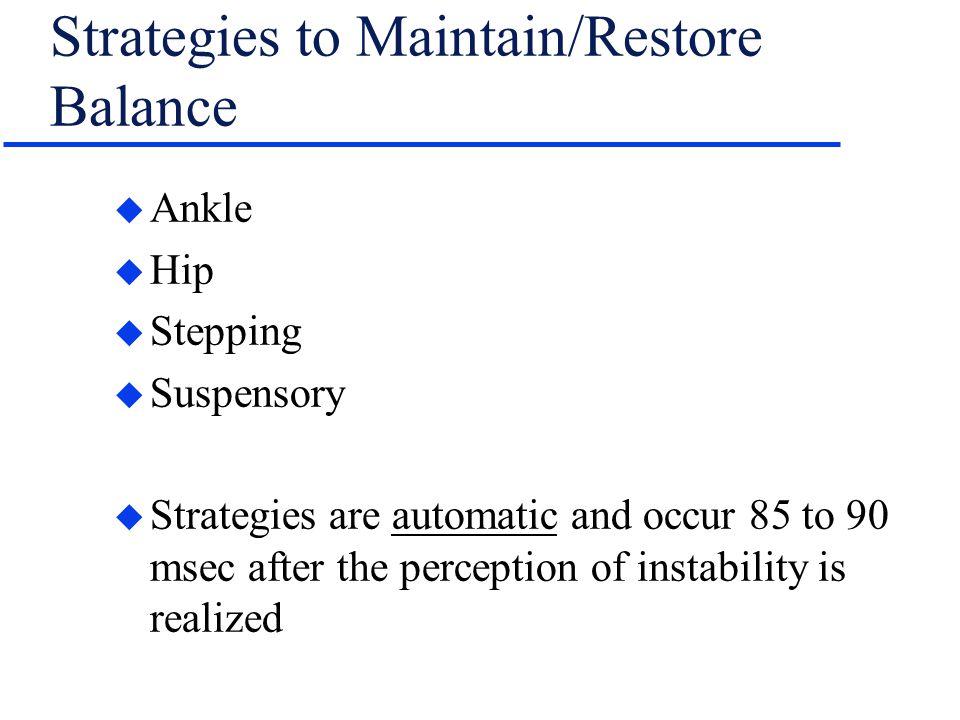 Strategies to Maintain/Restore Balance