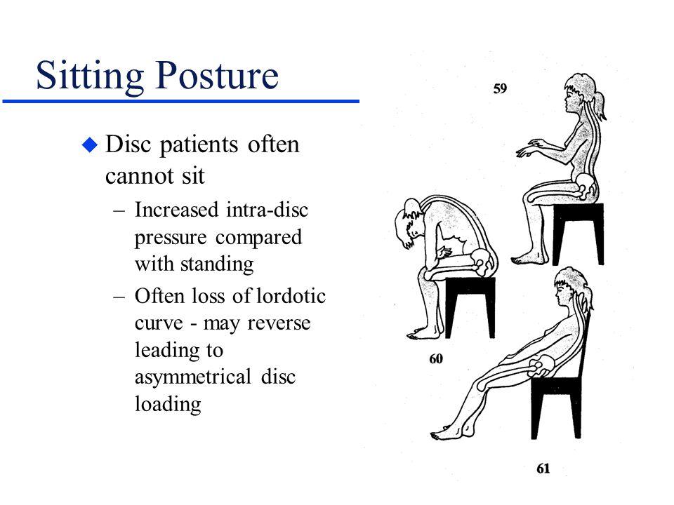 Sitting Posture Disc patients often cannot sit