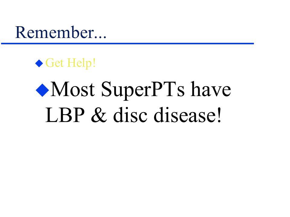 Most SuperPTs have LBP & disc disease!