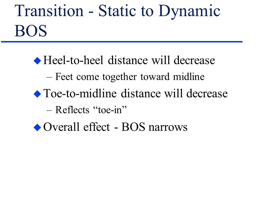 Transition - Static to Dynamic BOS