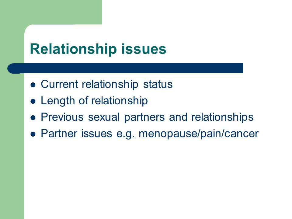 Relationship issues Current relationship status Length of relationship