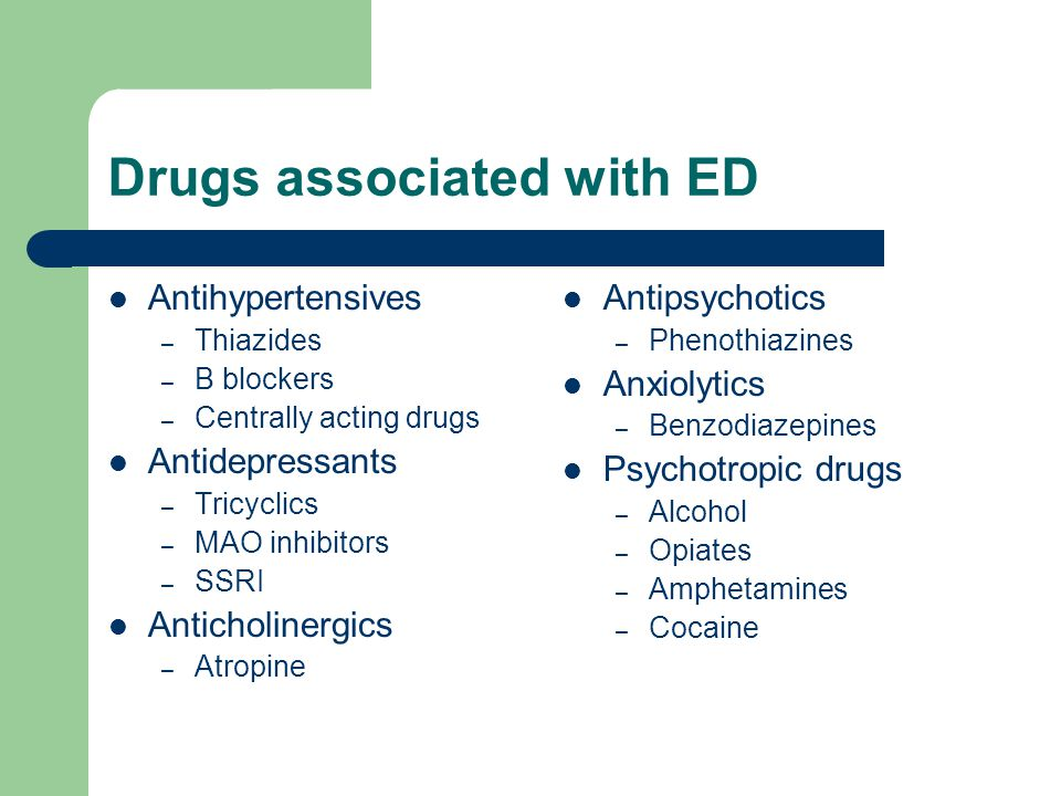Drugs associated with ED
