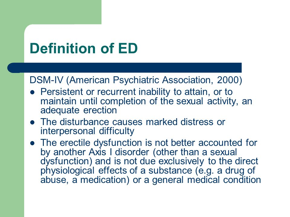 Definition of ED DSM-IV (American Psychiatric Association, 2000)
