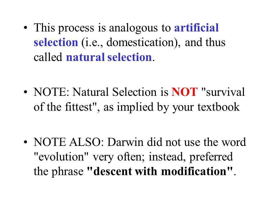 This process is analogous to artificial selection (i. e
