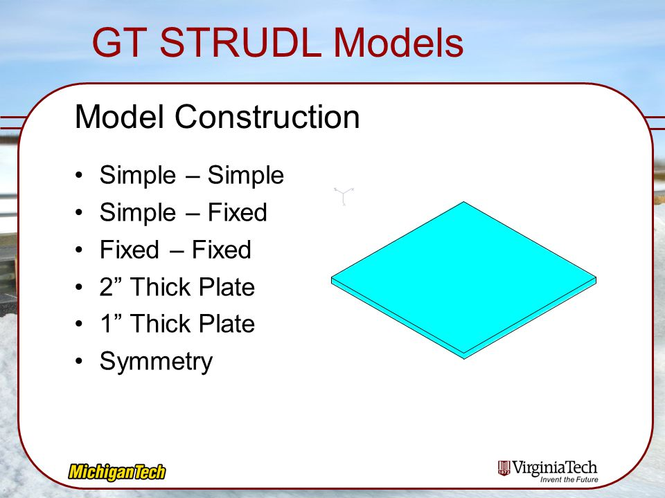 GT STRUDL Models Model Construction Simple – Simple Simple – Fixed
