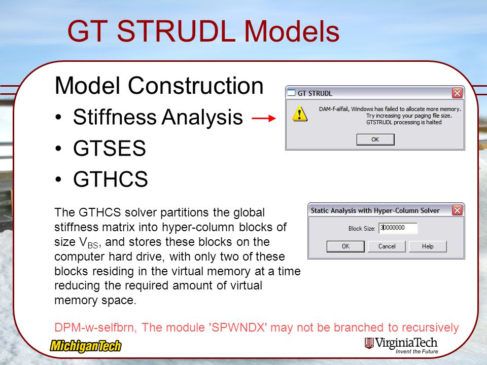 GT STRUDL Models Model Construction Stiffness Analysis GTSES GTHCS