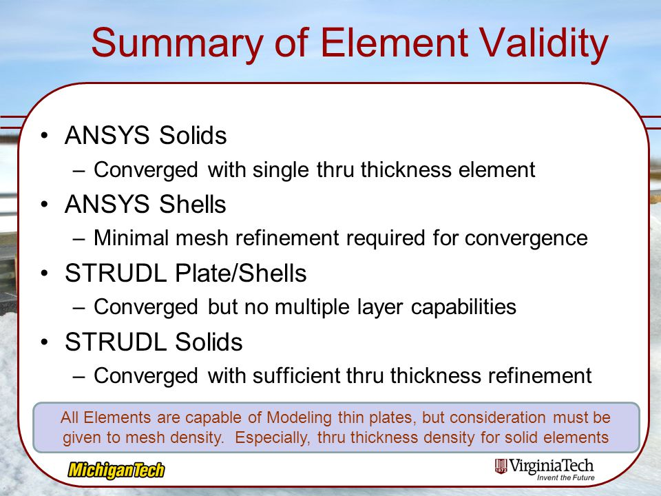Summary of Element Validity