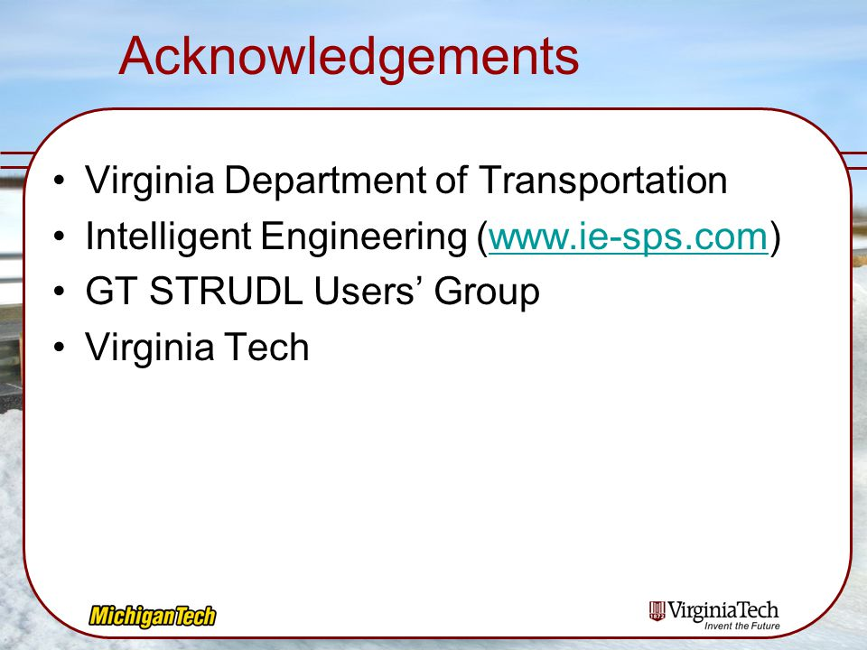 Acknowledgements Virginia Department of Transportation