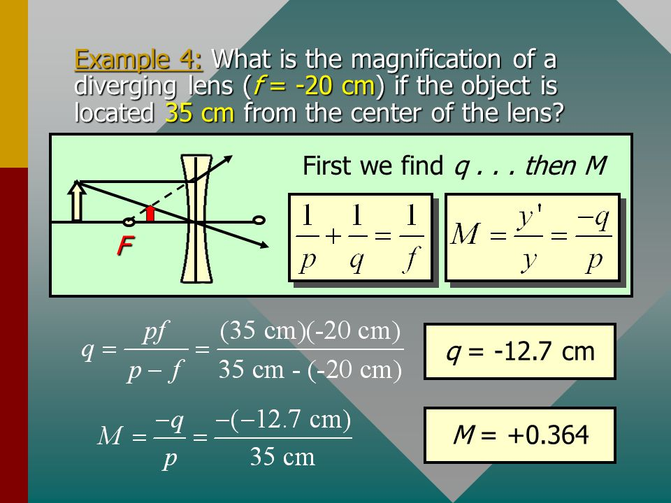 Example 4: What is the magnification of a diverging lens (f = -20 cm) if the object is located 35 cm from the center of the lens