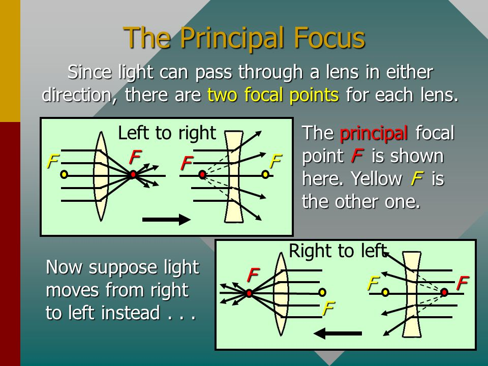 The Principal Focus Since light can pass through a lens in either direction, there are two focal points for each lens.