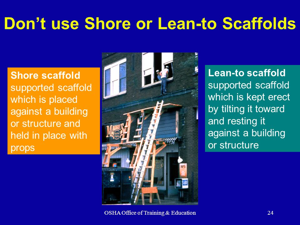 Don't use Shore or Lean-to Scaffolds
