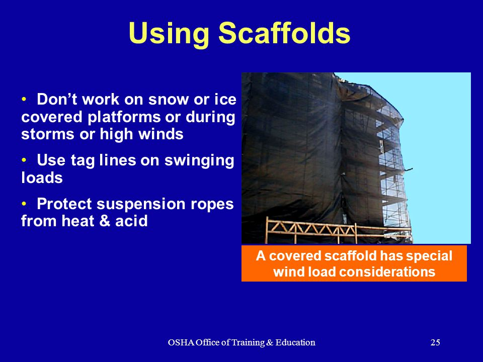 A covered scaffold has special wind load considerations