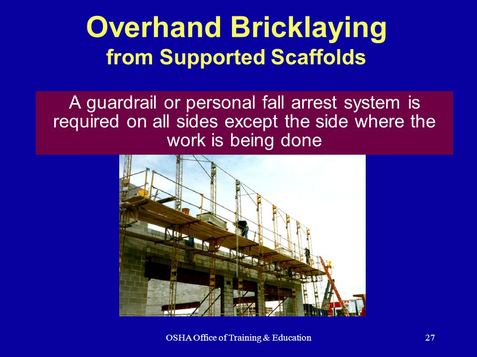 Overhand Bricklaying from Supported Scaffolds