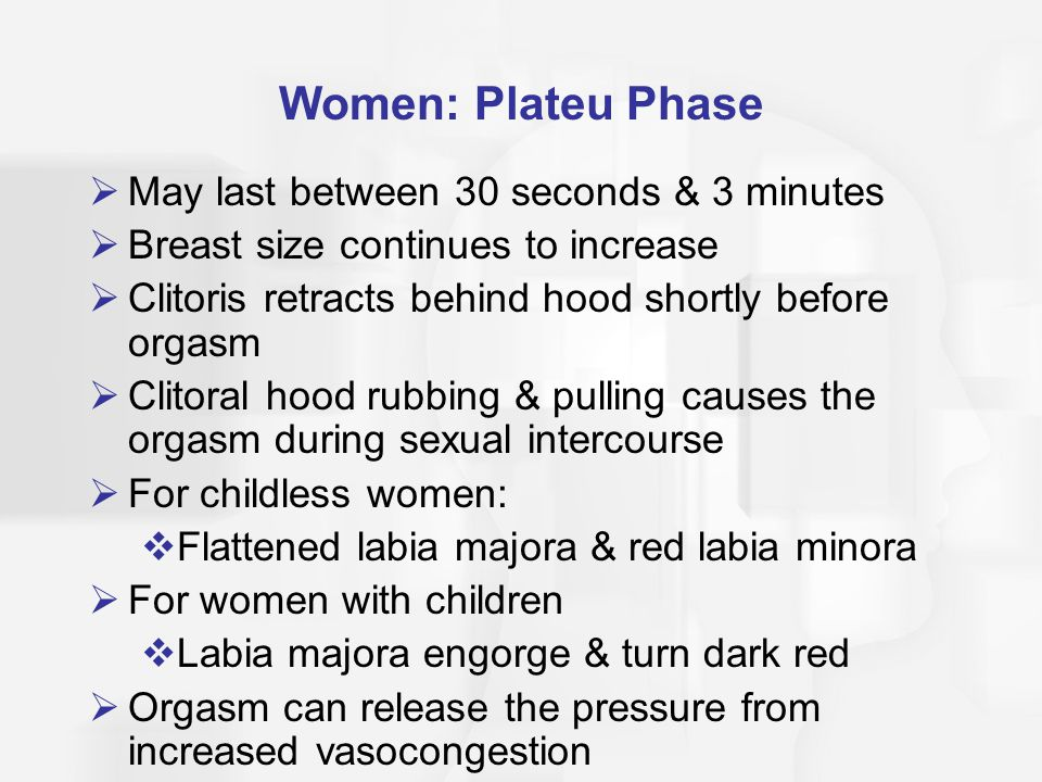 Women: Plateu Phase May last between 30 seconds & 3 minutes