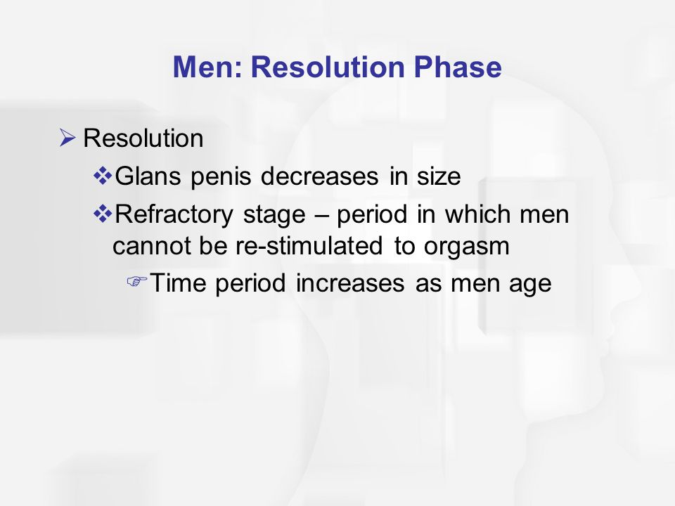 Men: Resolution Phase Resolution Glans penis decreases in size