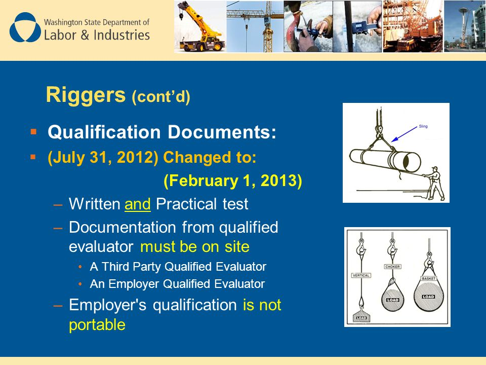 Riggers (cont'd) Qualification Documents: (July 31, 2012) Changed to:
