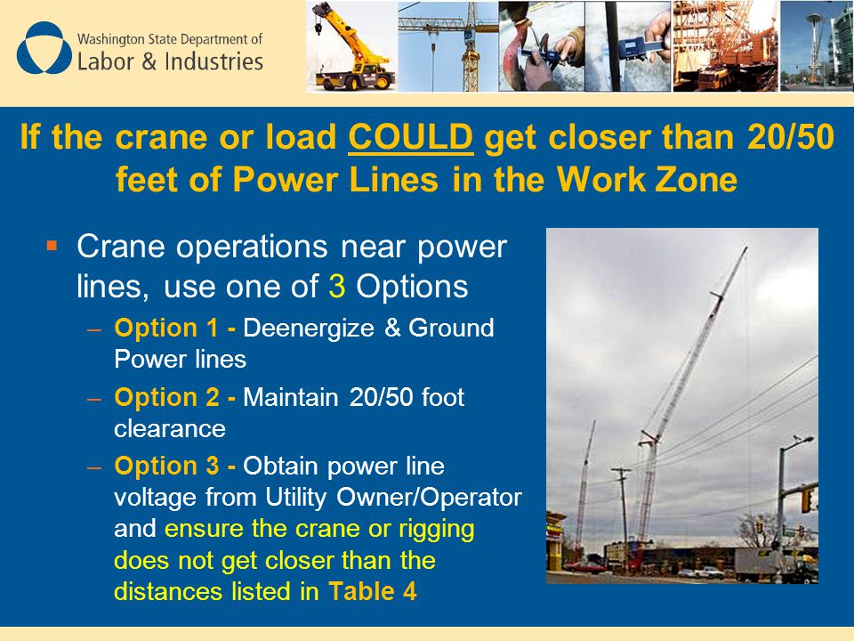 If the crane or load COULD get closer than 20/50 feet of Power Lines in the Work Zone