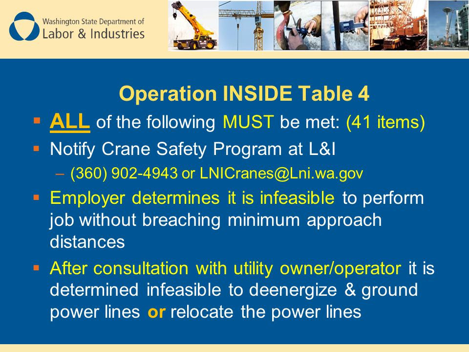 Operation INSIDE Table 4