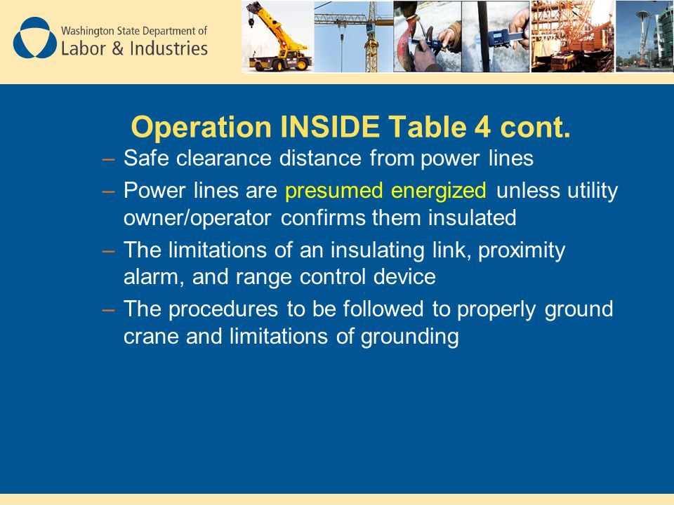 Operation INSIDE Table 4 cont.