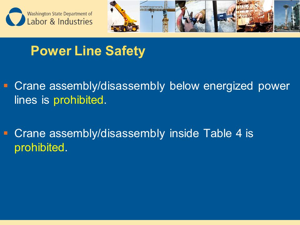 Power Line Safety Crane assembly/disassembly below energized power lines is prohibited.