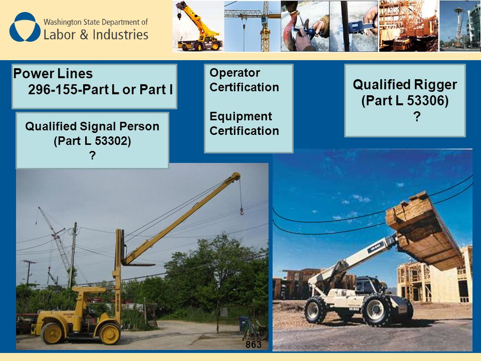 Qualified Rigger (Part L 53306) Qualified Signal Person (Part L 53302)