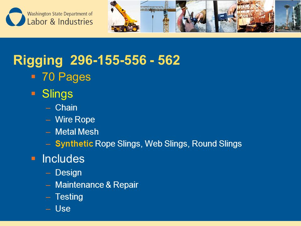 Rigging 296-155-556 - 562 70 Pages Slings Includes Chain Wire Rope