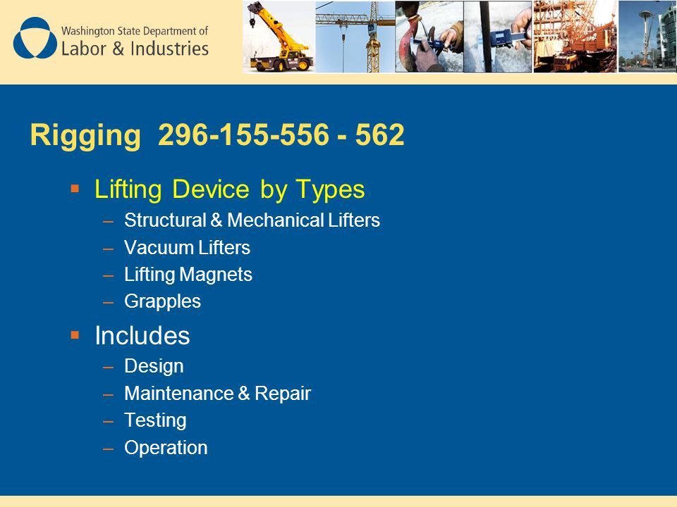 Rigging 296-155-556 - 562 Lifting Device by Types Includes