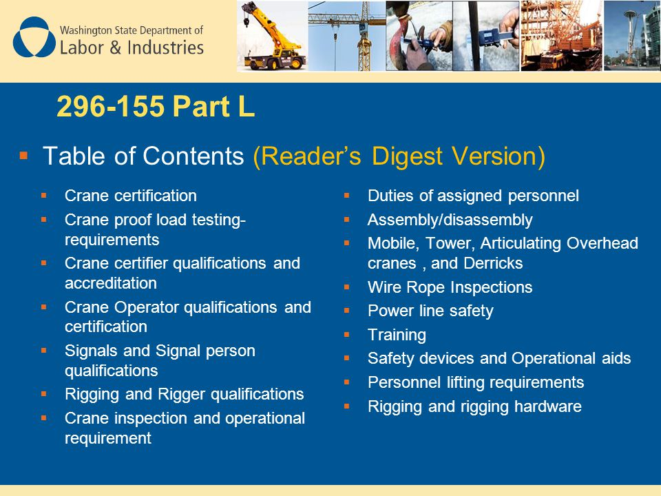 296-155 Part L Table of Contents (Reader's Digest Version)