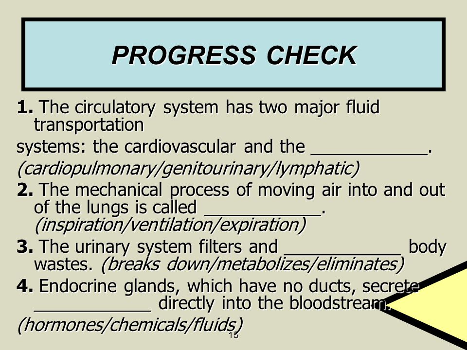 PROGRESS CHECK 1. The circulatory system has two major fluid transportation. systems: the cardiovascular and the ____________.