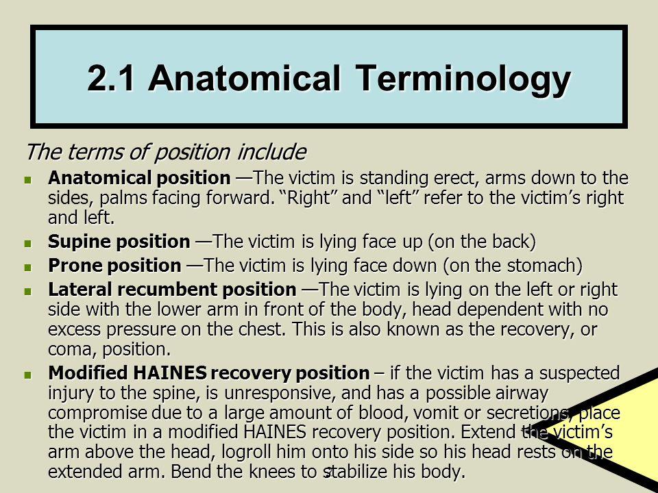 2.1 Anatomical Terminology