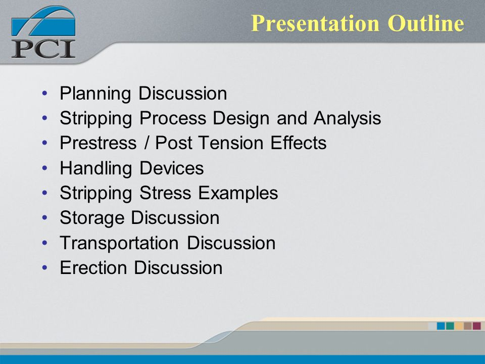 Presentation Outline Planning Discussion