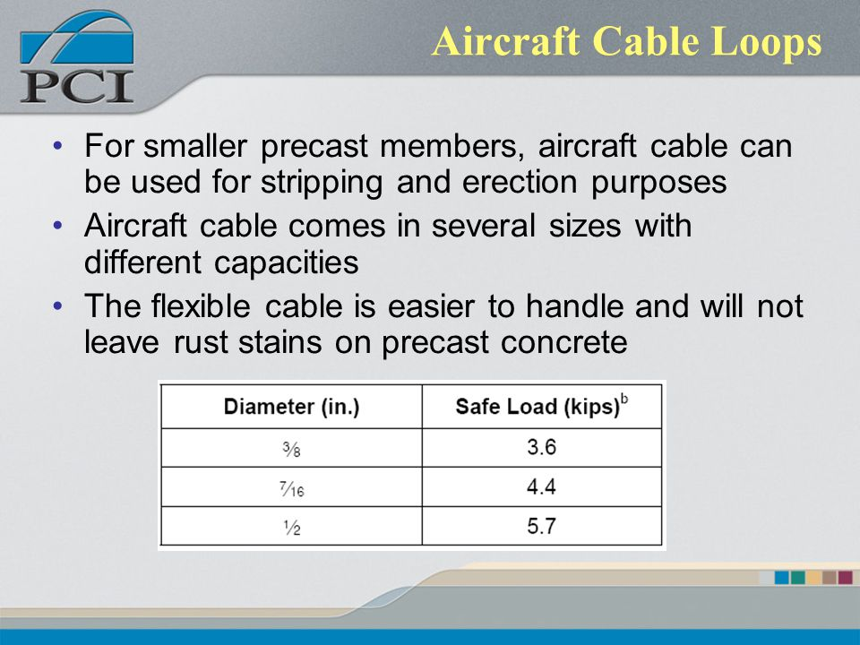 Aircraft Cable Loops For smaller precast members, aircraft cable can be used for stripping and erection purposes.